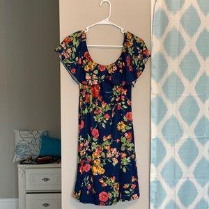 Super cute off the shoulder ruffled flowy dress!